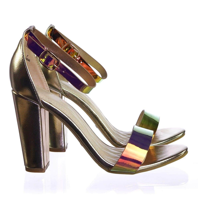 Frenzy98 UnicornPu Holographic Iridescent Classic Block Heel Two Piece Dress Sandal