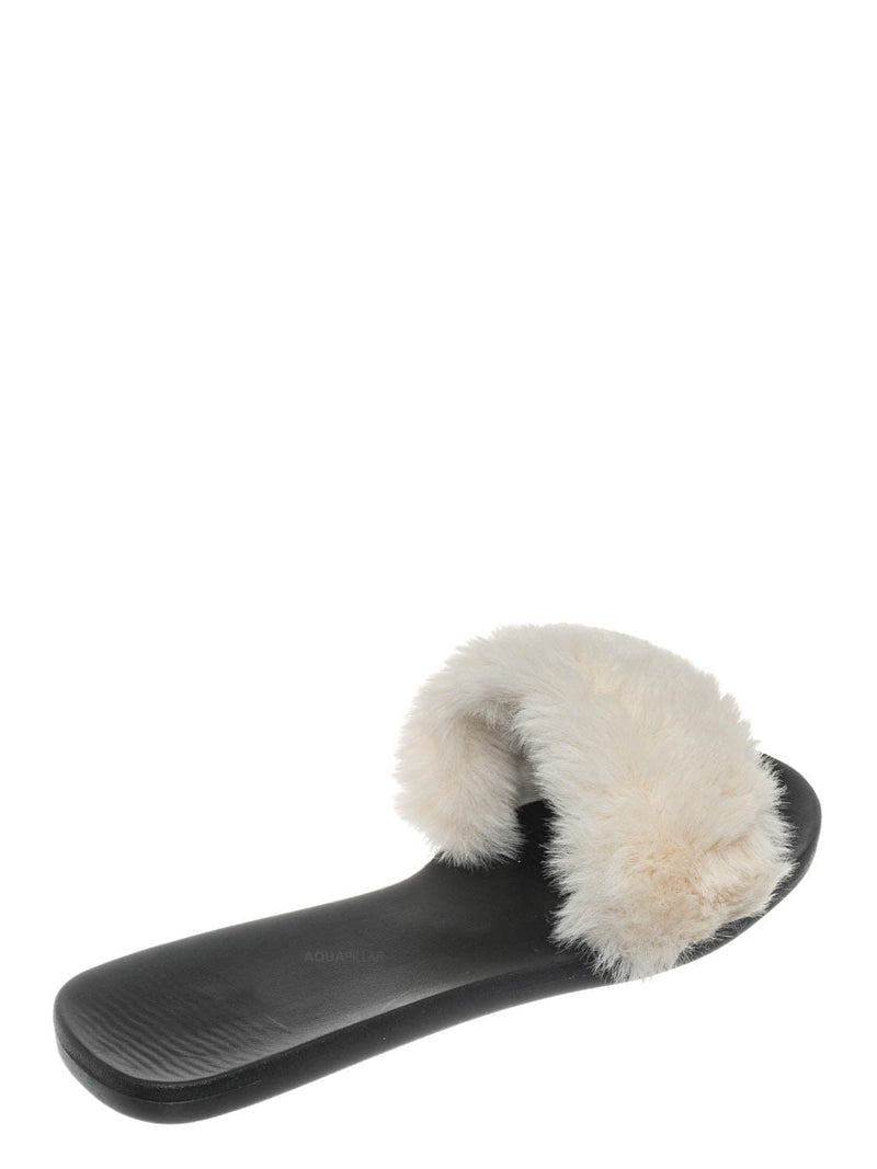 White / Fullmoon14 Furry Flat Slide In Sandals - Indoor Outdoor Festival Faux Fur Shoes