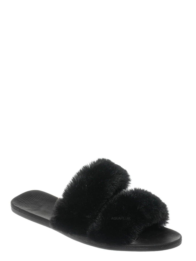 Black / Fullmoon15 Furry Double Strap Slide In Sandals - Faux Fur Indoor Outdoor Slipper