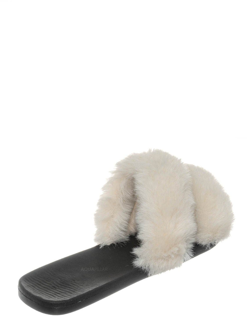 White / Fullmoon15 Furry Double Strap Slide In Sandals - Faux Fur Indoor Outdoor Slipper