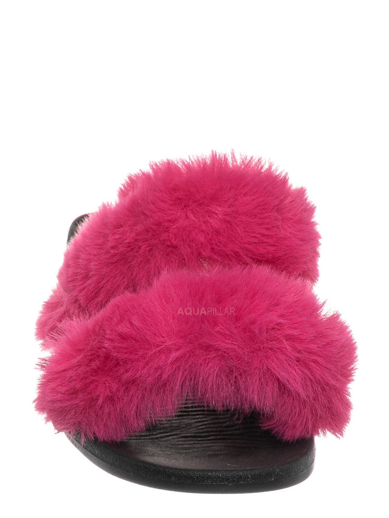 Hot Pink / Fullmoon15 Furry Double Strap Slide In Sandals - Faux Fur Indoor Outdoor Slipper