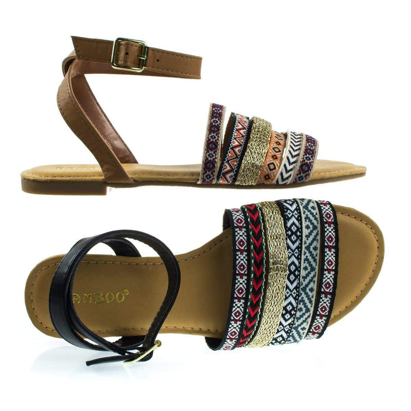 Grayson32S Tan By Bamboo, Multi Colored Tribal Flat Sandal w Ankle Strap