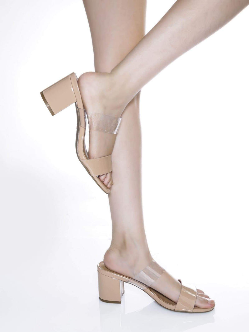 Natural Nude / Headline13 Natural Nude Iridescent Lucite Strap Mule - Womens Open Toe Chunky Heel Sandals