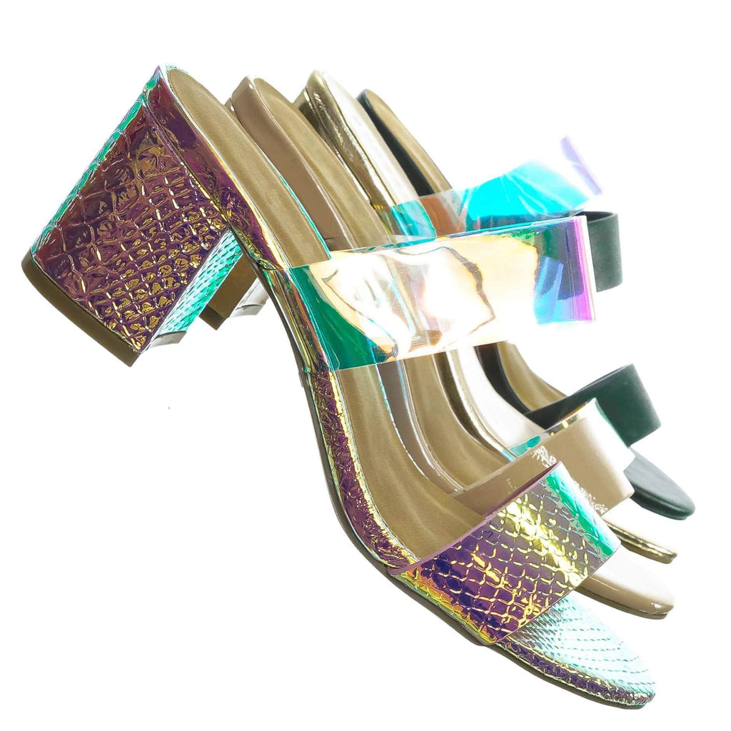 Headline13 Iridescent Lucite Strap Mule - Womens Open Toe Chunky Heel Sandals