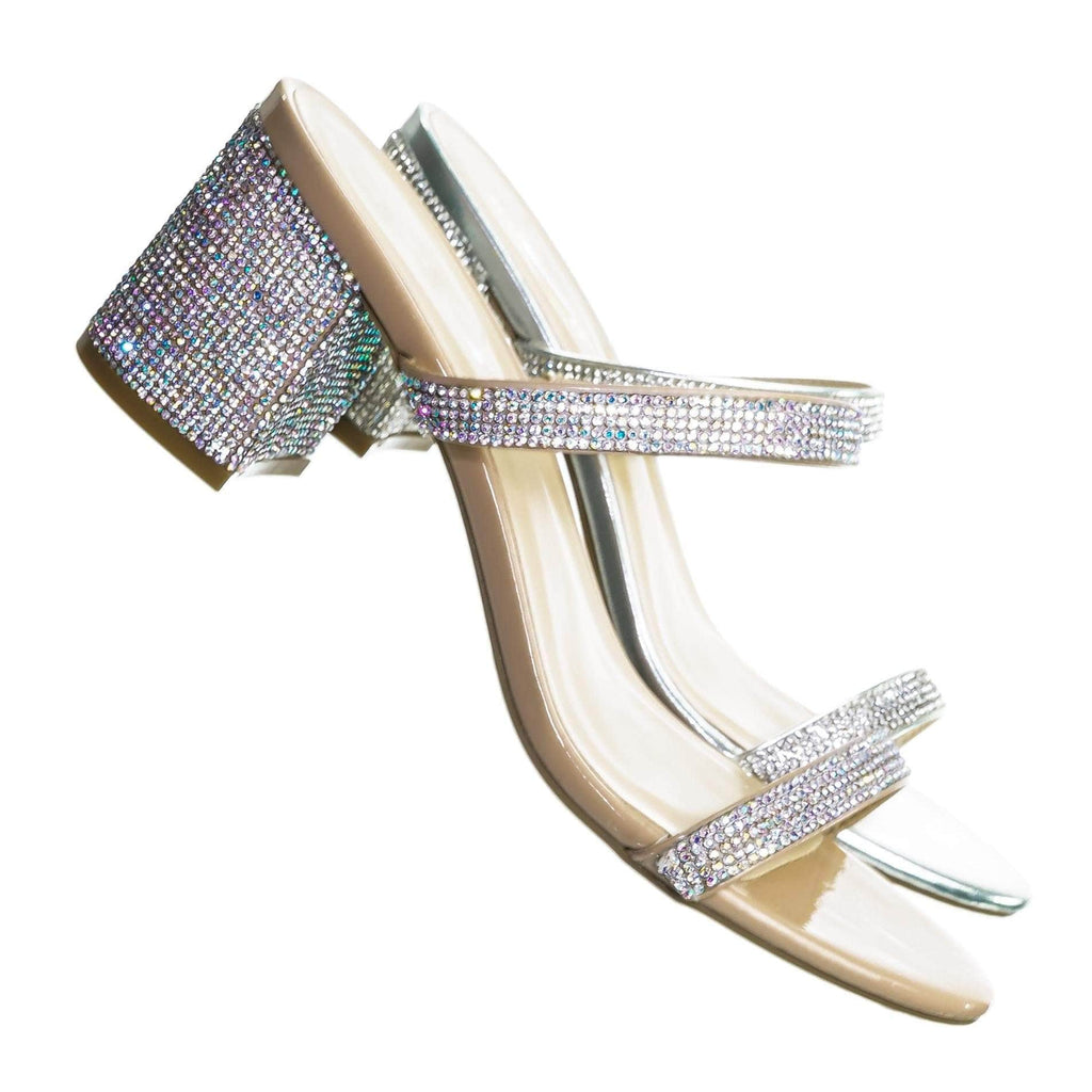 Headline25 Rhinestone Slide On Heel Slippers - Womens Open Toe Elastic Mule Shoe
