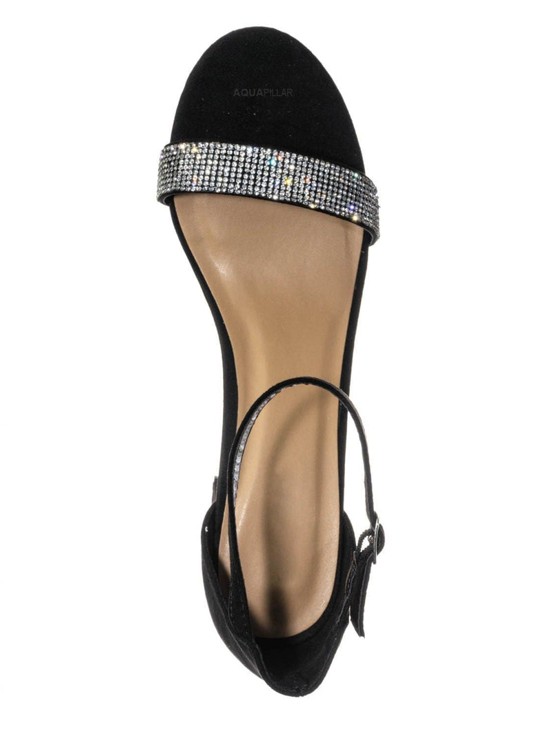 Black F-Suede / Headline31 Block Heel Rhinestone Crystal Sandal - Women Ankle Strap Dress Shoes