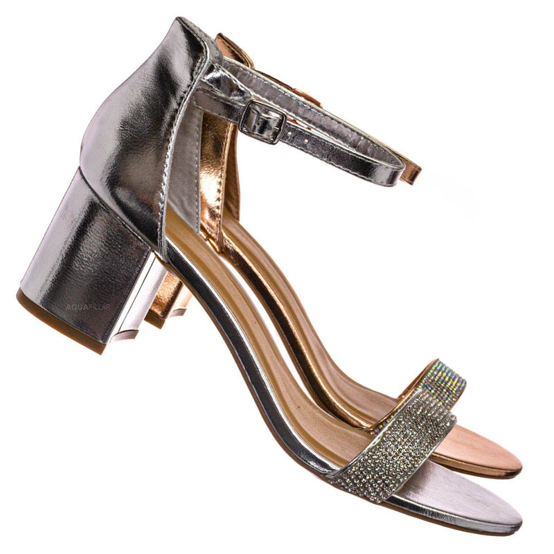 Silver Pu / Headline31 Block Heel Rhinestone Crystal Sandal - Women Ankle Strap Dress Shoes
