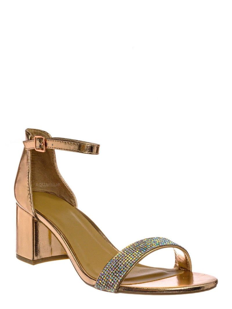 Rose Gold / Headline31 Block Heel Rhinestone Crystal Sandal - Women Ankle Strap Dress Shoes