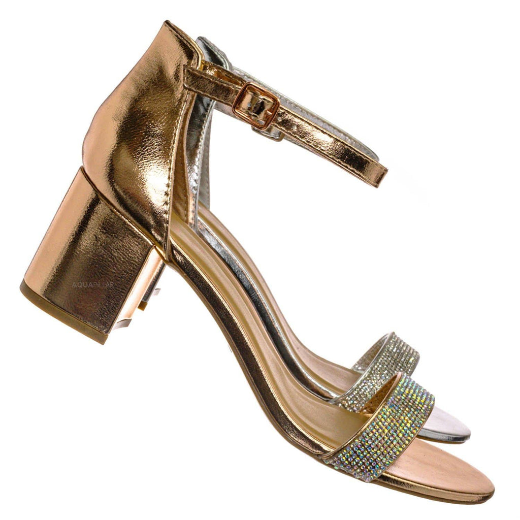 Headline31 Block Heel Rhinestone Crystal Sandal - Women Ankle Strap Dress Shoes