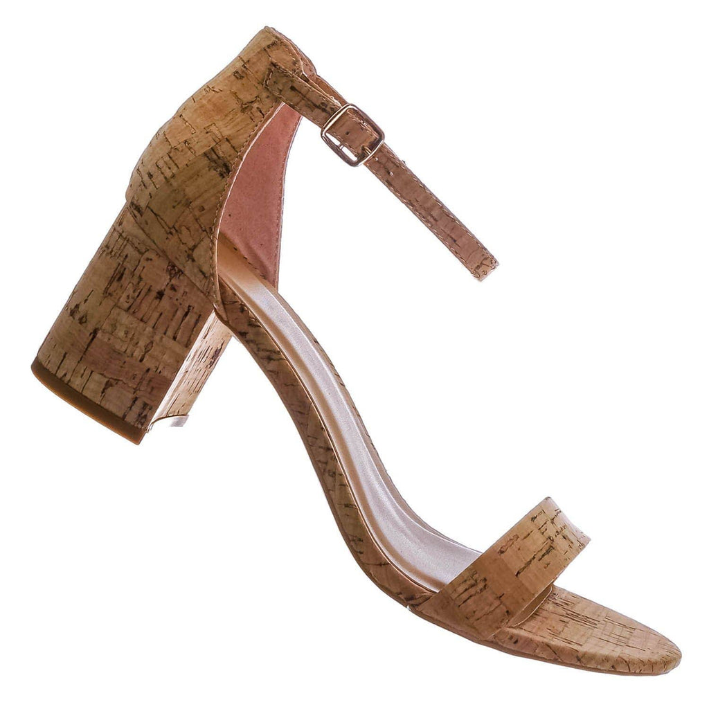 Natural Cork / Headline39 Low Heel Block Heel Sandal - Women Two Piece Ankle Strap Shoes