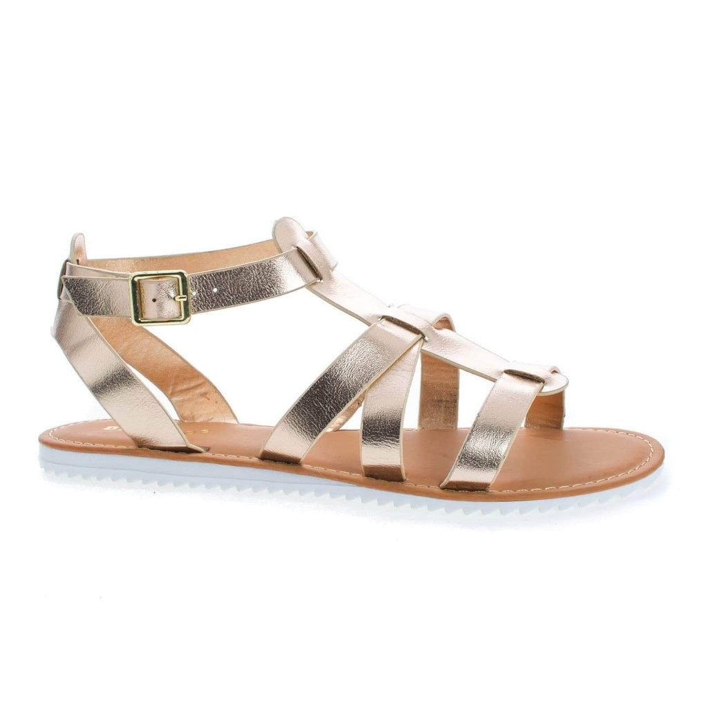 Hearten52S Gold Pu By Bamboo, Open Toe Sling Back Gladiator Flat Sandal