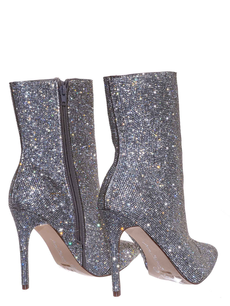 Silver / Hibiscus56 Rhinestone Stiletto Bootie - High Heel Shimmering Dress Ankle boots