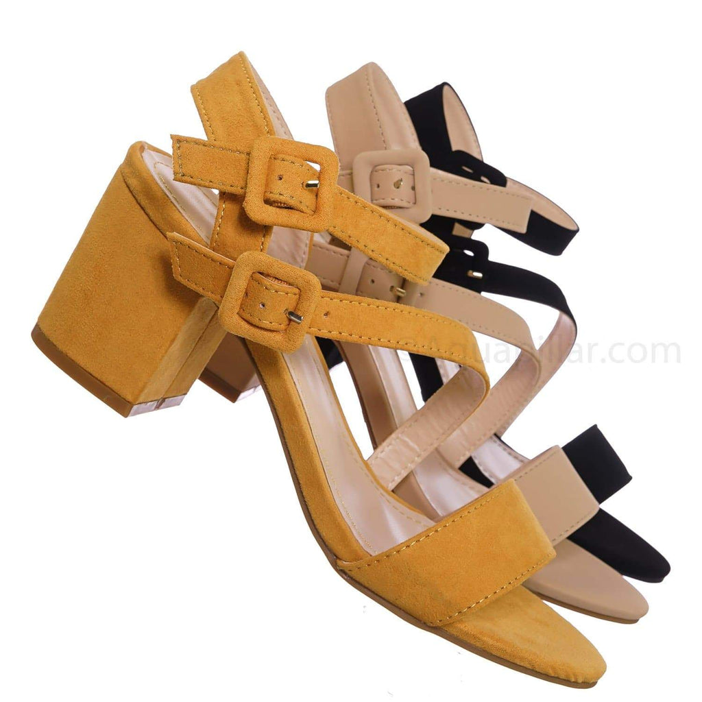 Highlight68 MgdFs Kitten Heel Open Toe Sandal - Buckle Chunky Block Heeled
