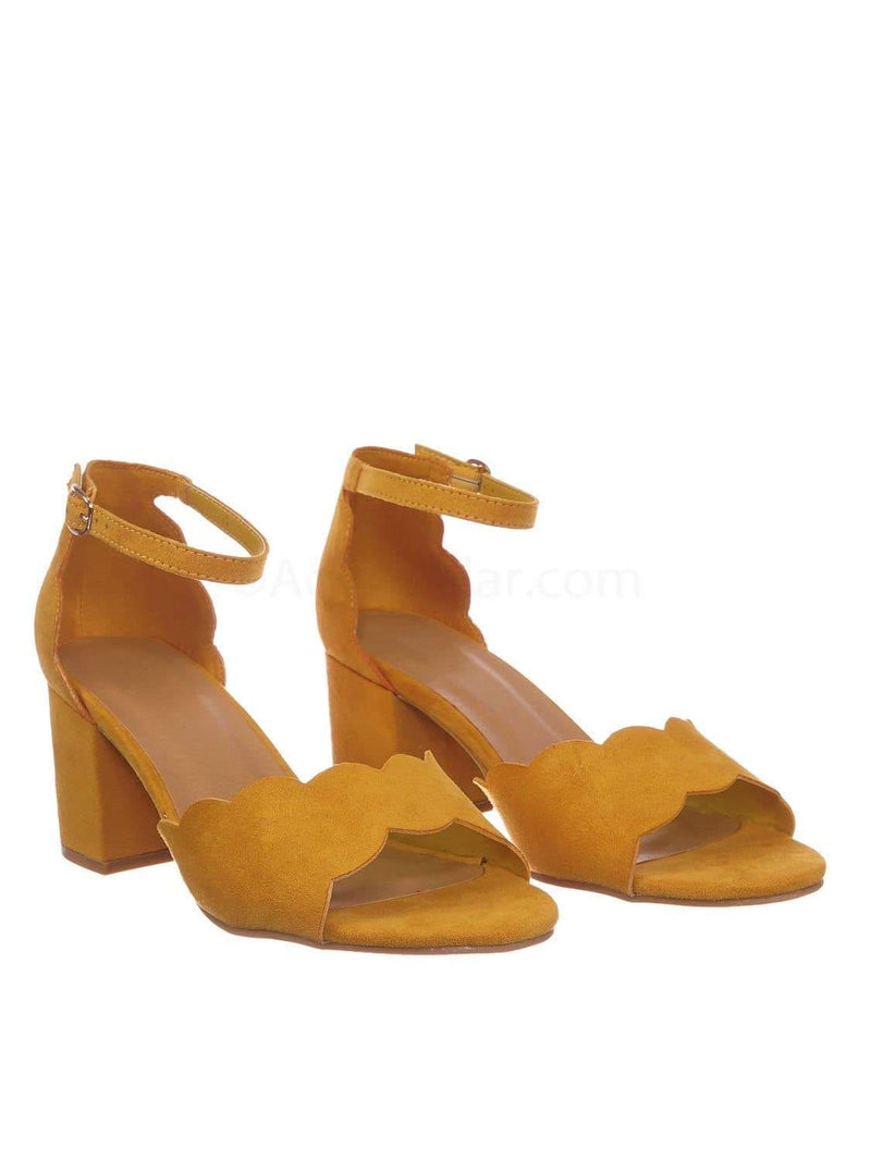 Marigold Yellow / Highlight71 MgdFs Scallop Wavy Block Heel Sandal - Womens Half Circle Retro Boho Shoe