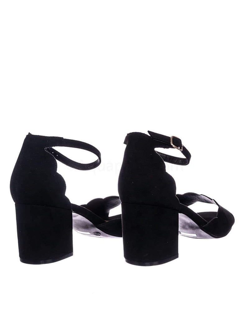 Black Pu / Highlight71 BlkFs Scallop Wavy Block Heel Sandal - Womens Half Circle Retro Boho Shoe