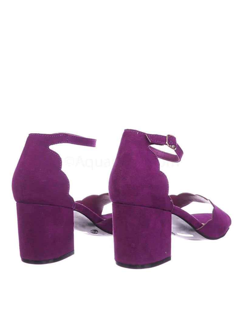 Raspberry Purple / Highlight71 RasFs Scallop Wavy Block Heel Sandal - Womens Half Circle Retro Boho Shoe