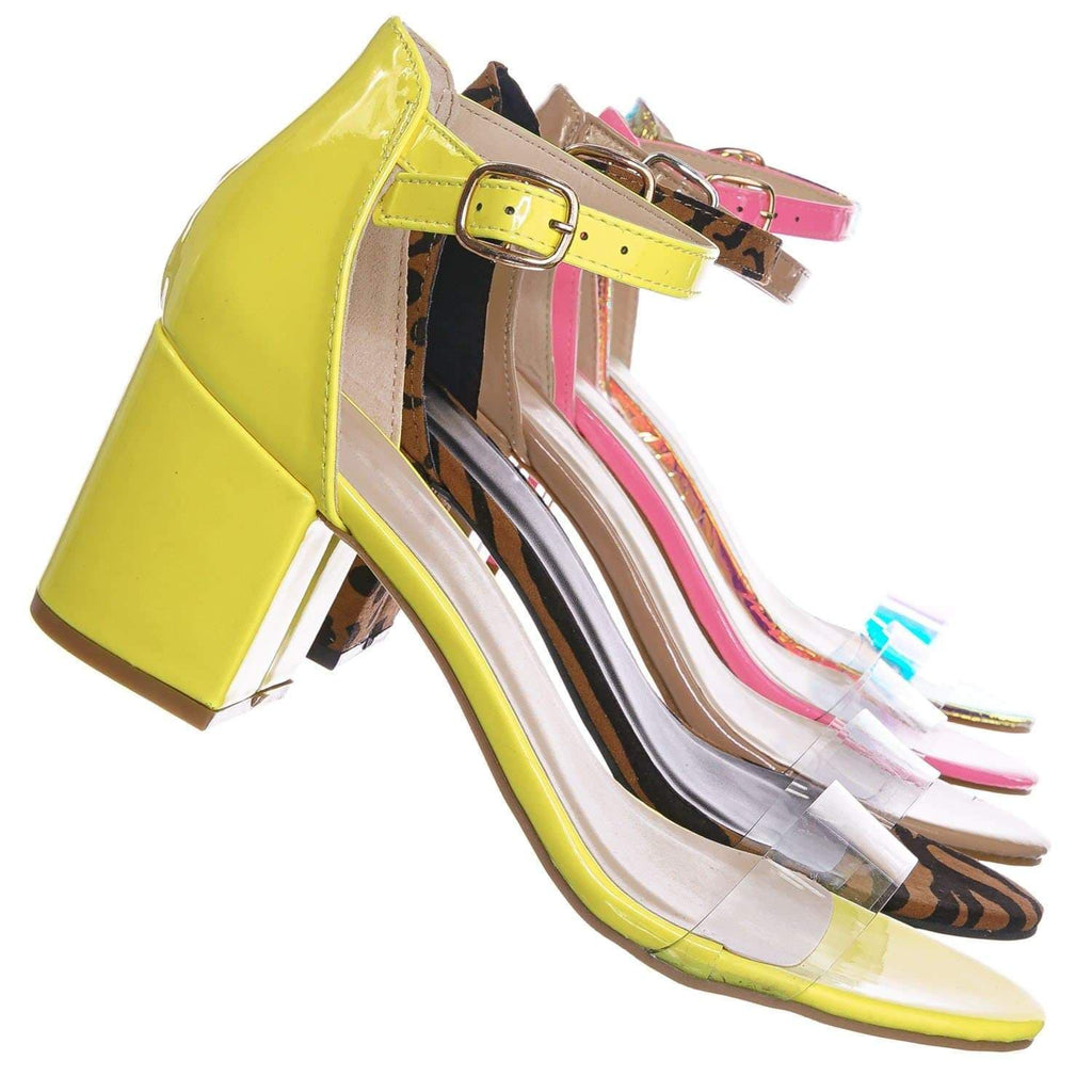 Neon Yellow Patent / Highlight74 NYlwPt Clear Lucite Low Block Heel Sandal - Two Piece Ankle Strap Shoes