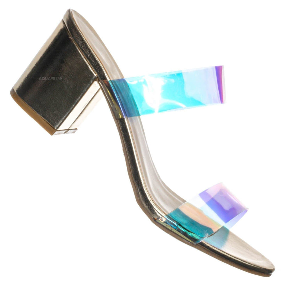 Gold Pu / Highlight76 Iridescent Lucite Strap Mule - Womens Open Toe Chunky Heel Sandals