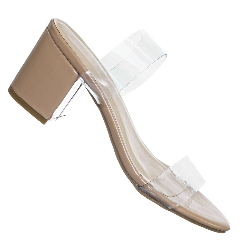Nude Beige / Highlight76 Iridescent Lucite Strap Mule - Womens Open Toe Chunky Heel Sandals