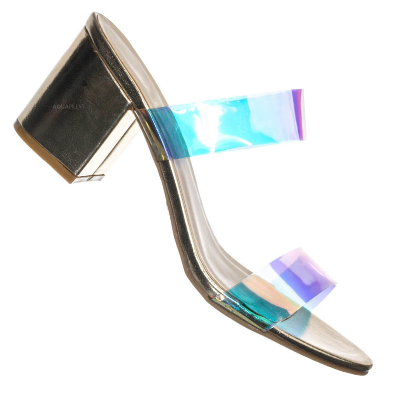 Highlight76 Iridescent Lucite Strap Mule - Womens Open Toe Chunky Heel Sandals