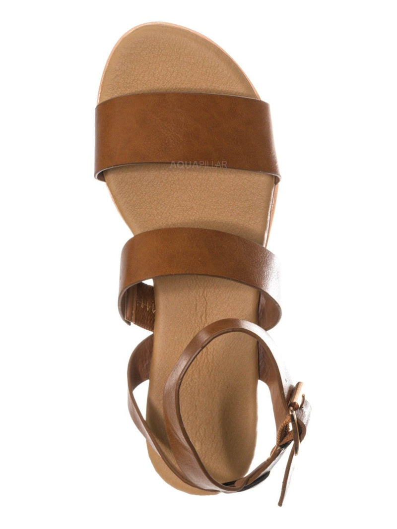 Tan Bnh / Hotspot04 Lightweight Cork Molded Flat Sandal - Women Pillow Padded Contour Shoe