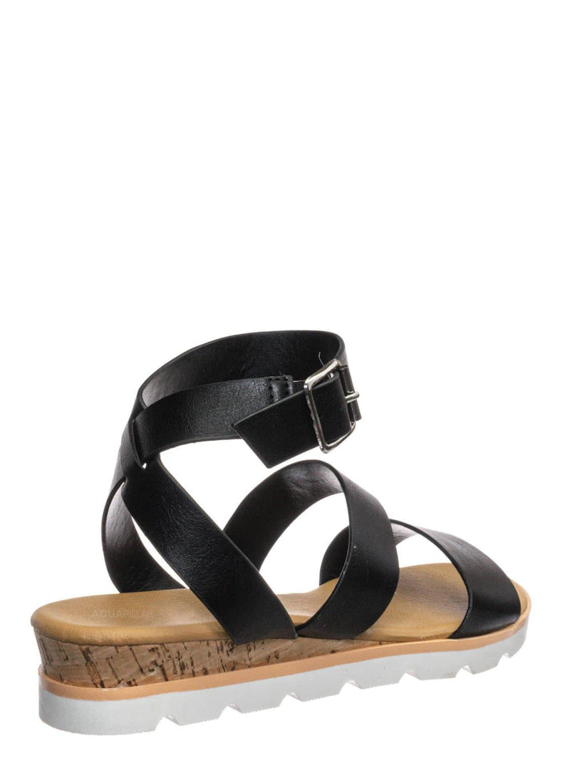 Black BNH / Hotspot04 Lightweight Cork Molded Flat Sandal - Women Pillow Padded Contour Shoe