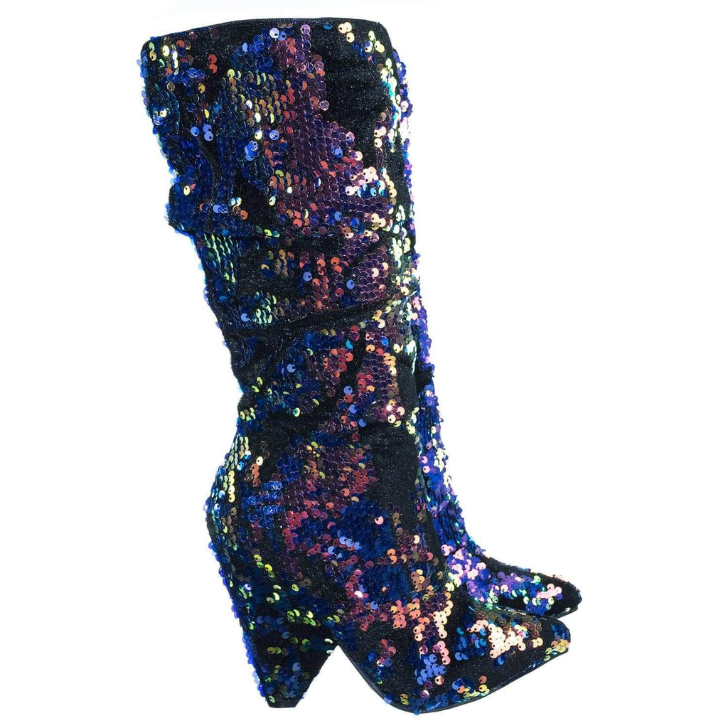 Immerse06 BlueSqn Iridescent Sequin Embellished Slouch Tapered Pointed Toe Dress Bootie