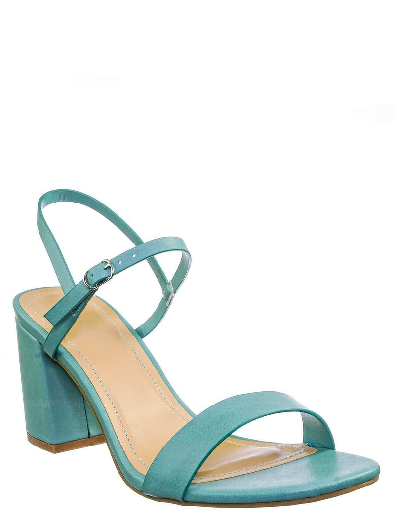 Sage Blue / Inflate02 Thin Strap Chunky Heel Sandal - Open Toe Evening Dress Shoes