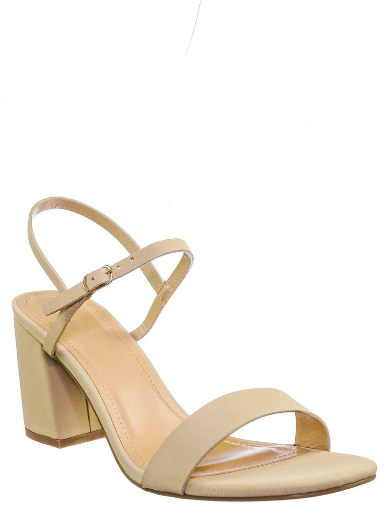 Nude Beige / Inflate02 Thin Strap Chunky Heel Sandal - Open Toe Evening Dress Shoes