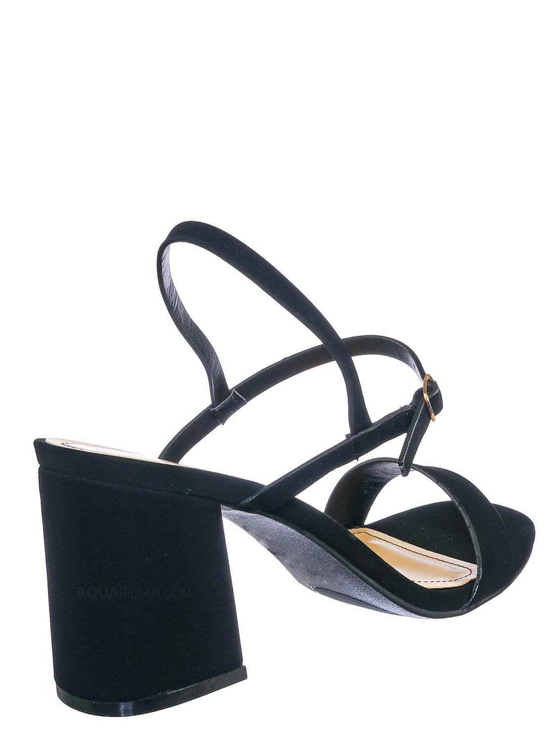 Black Nubuck / Inflate02 Thin Strap Chunky Heel Sandal - Open Toe Evening Dress Shoes