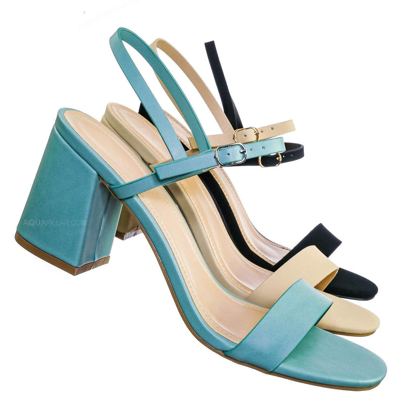 Inflate02 Thin Strap Chunky Heel Sandal - Open Toe Evening Dress Shoes