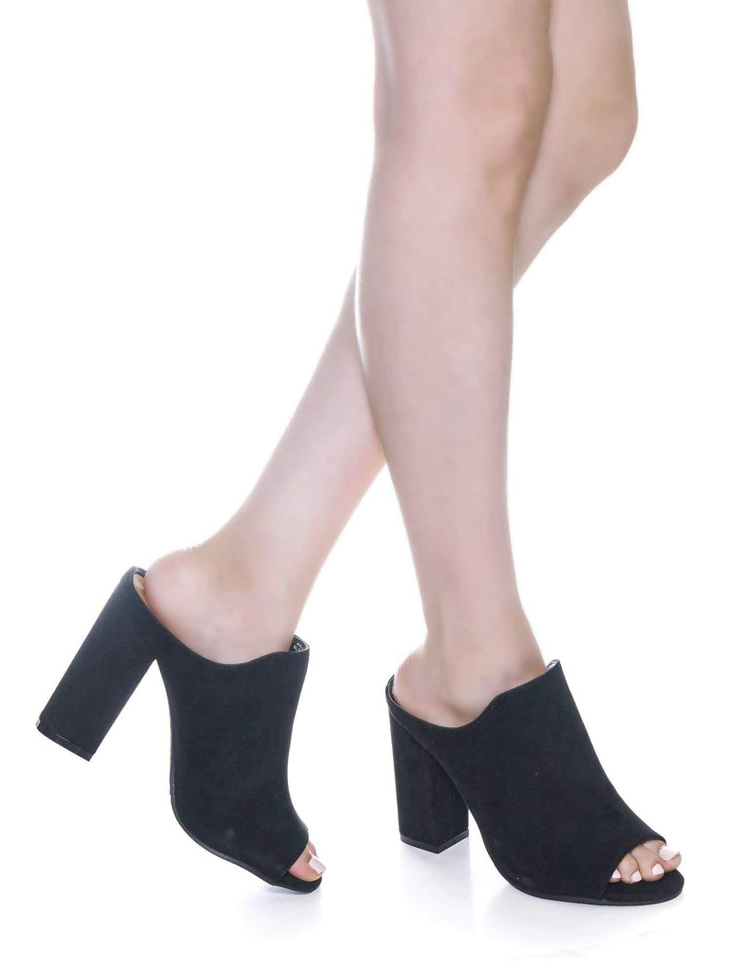 Black F-Suede / Influencer29 Black F-Suede Peep Toe Mule Sandals - Womens Slip On Chunky Block High Heels