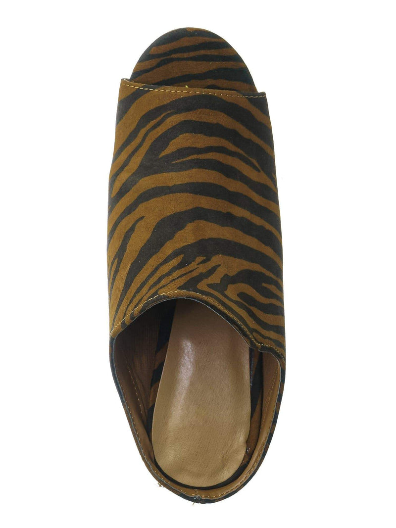 Tiger F-Suede / Influencer29 Tiger F-Suede Peep Toe Mule Sandals - Womens Slip On Chunky Block High Heels