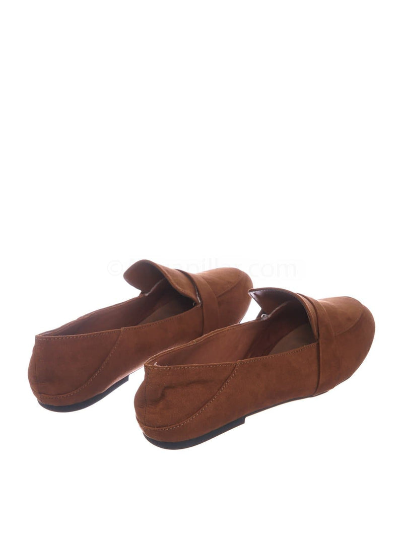 Dark Camel Brown / Jackpot27 DcmFS Lightweight Round Toe Loafer  - Women Classic Flexible Ballet Flat