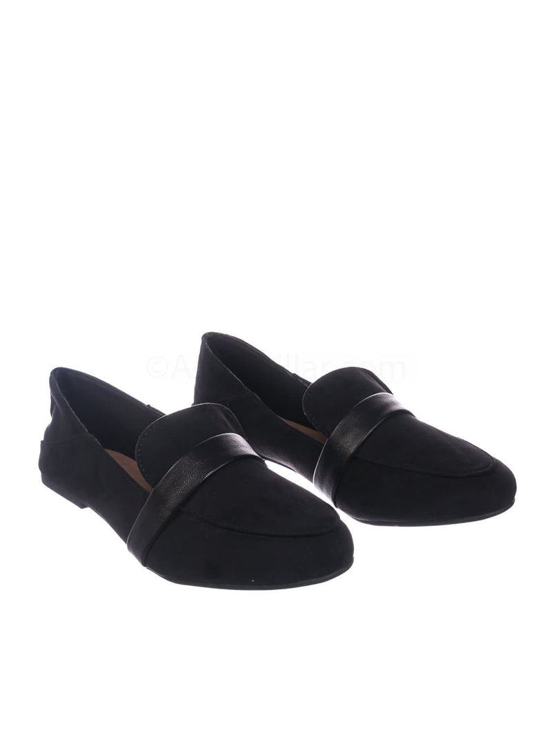 Black F-Suede / Jackpot27 Blkfs Lightweight Round Toe Loafer  - Women Classic Flexible Ballet Flat