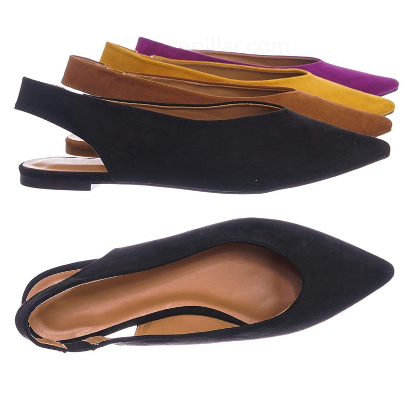 Black Pu / Justify38 BlkFs Pointed Toe Sling Back Flats - Women Elastic Strap Closed Toe Loafer