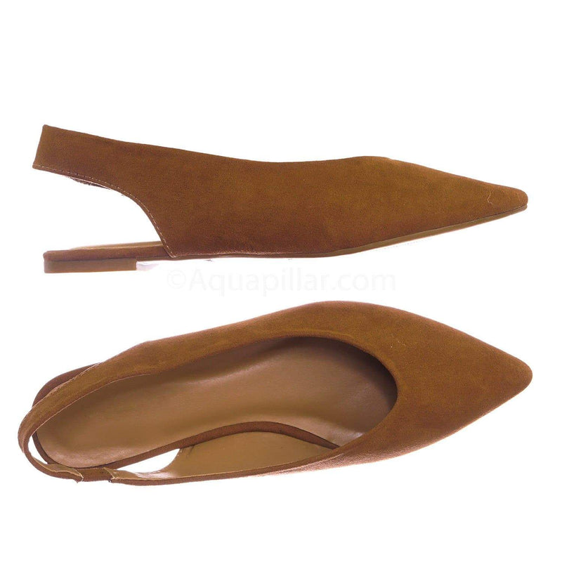 Camel Beige Brown / Justify38 DCamFs Pointed Toe Sling Back Flats - Women Elastic Strap Closed Toe Loafer