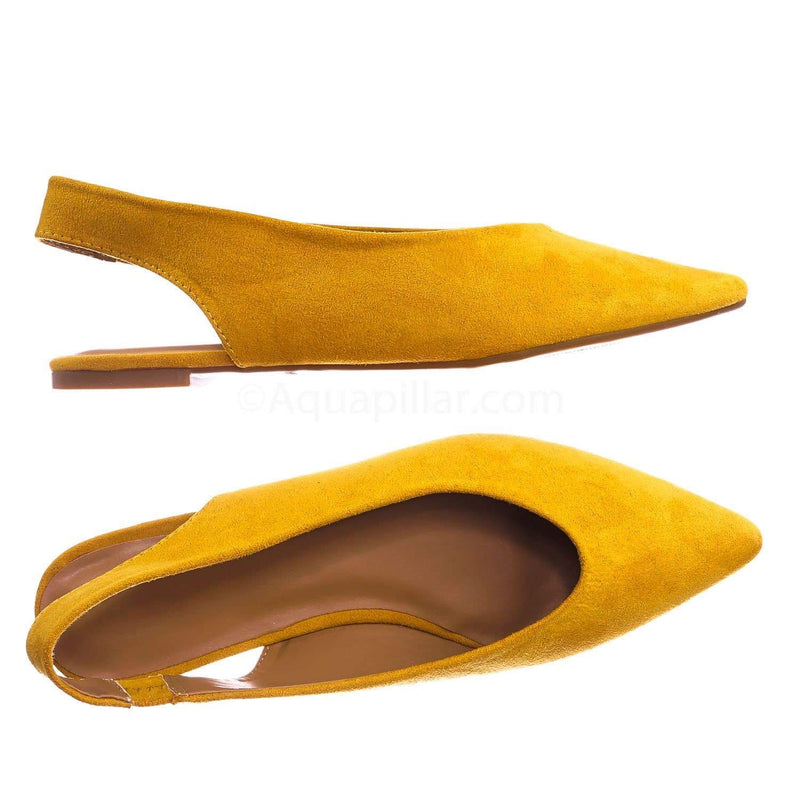 Marigold Yellow / Justify38 MgdFs Pointed Toe Sling Back Flats - Women Elastic Strap Closed Toe Loafer
