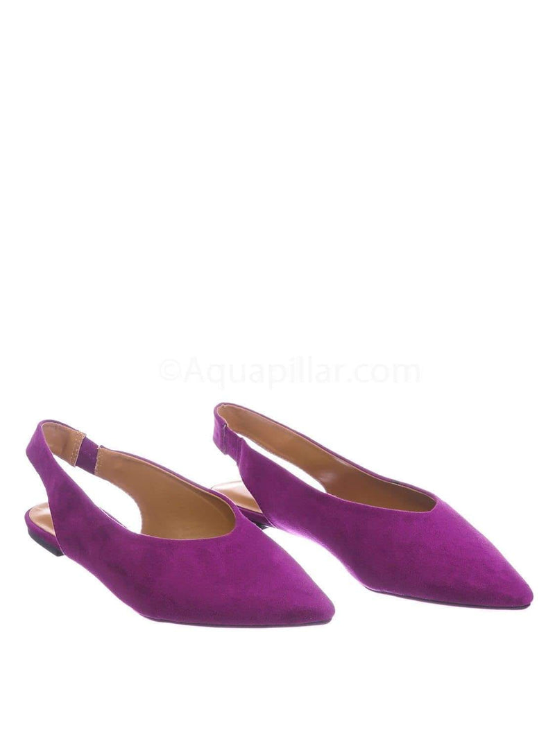 Raspberry Purple / Justify38 RasFs Pointed Toe Sling Back Flats - Women Elastic Strap Closed Toe Loafer
