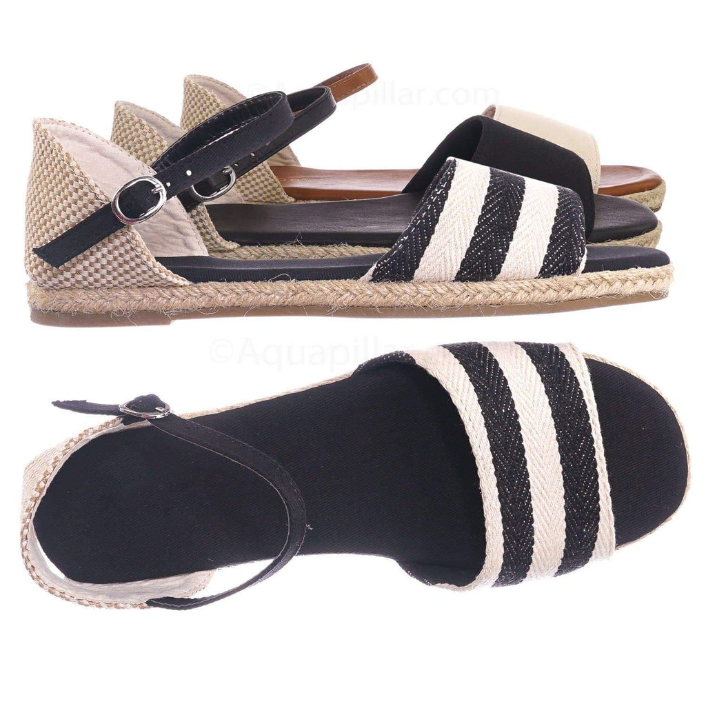 Black Stripes / Layover14 BlkStf Espadrille dOrsay Flat Sandal - Women Peep Toe Ankle Strap Canvas Shoe