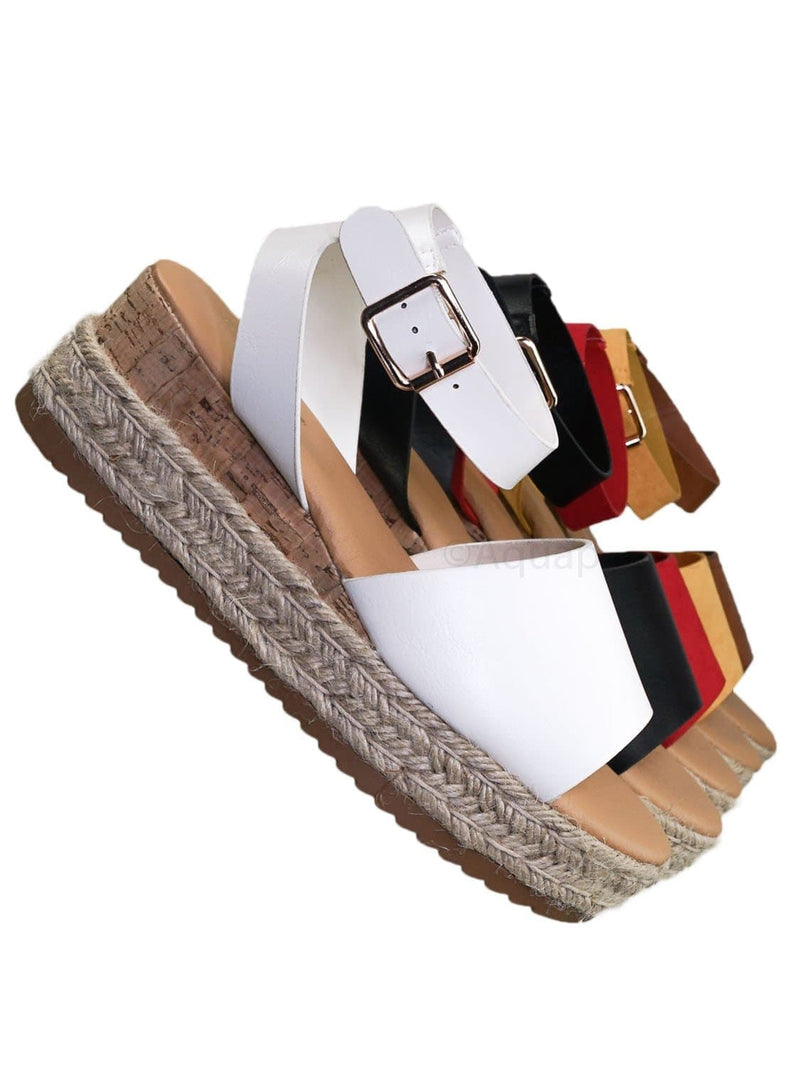 White / Leading Espadrille Wedge Flatform Sandal -Women Open Toe Flat Platform Jute Wrap