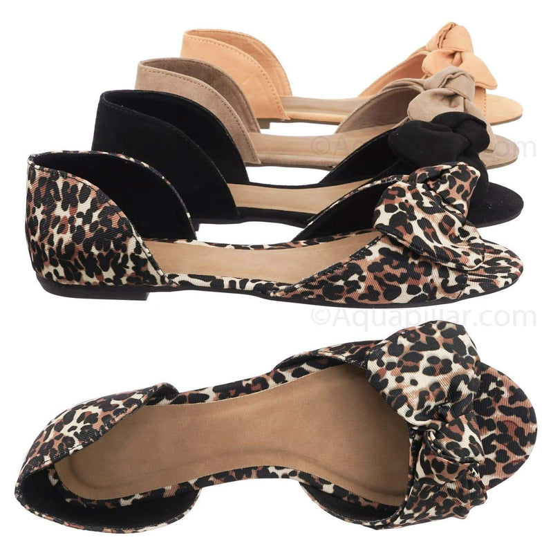 Leopard Brown / Leona77 LeoFab Bow d'Orsay Peep Toe Flats - Women Slip On Two Piece Sandal