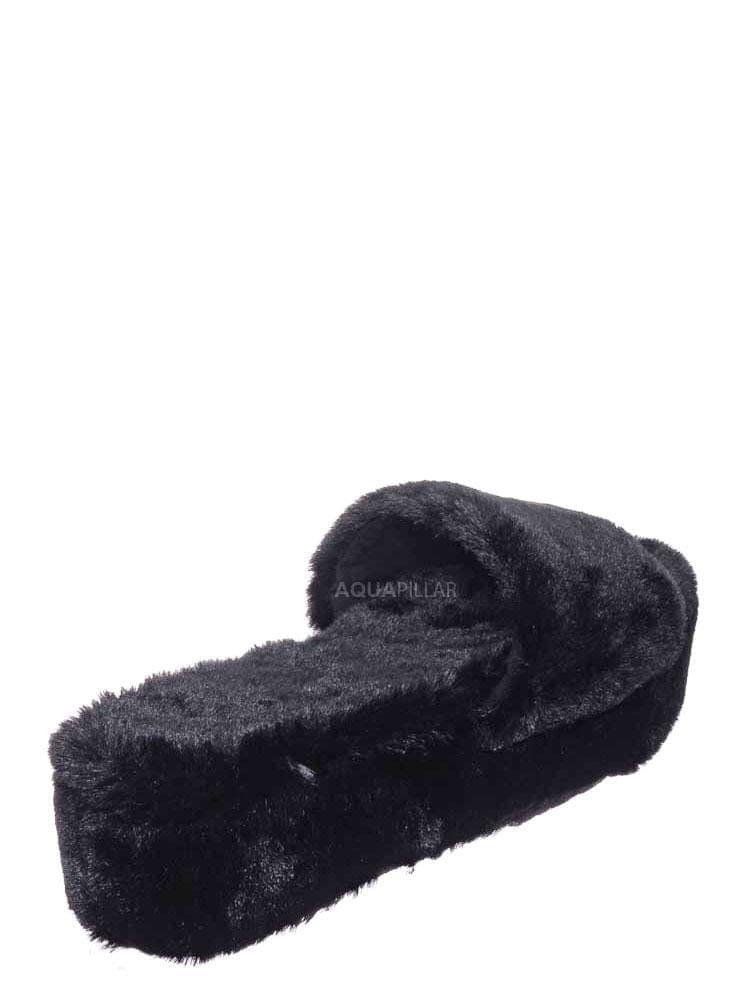 Black Faxu Fur / Leverage12 Furry Platform Slides - Faux Fur Chunky Slipper In Rainbow & Leopard
