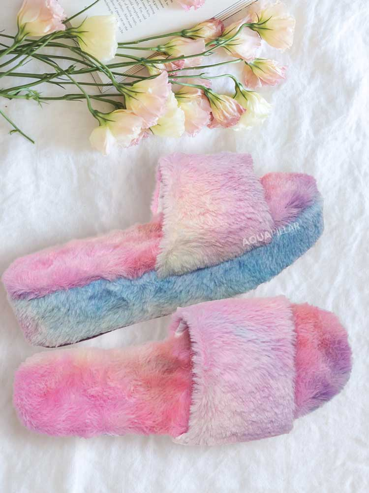 Leverage12 Furry Platform Slides - Faux Fur Chunky Slipper In Rainbow & Leopard