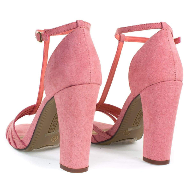 Limelight03M Pink By Bamboo, Open Toe Sandal, T-Strap Ankle Strap, Chunky Block Heel, Women Shoes