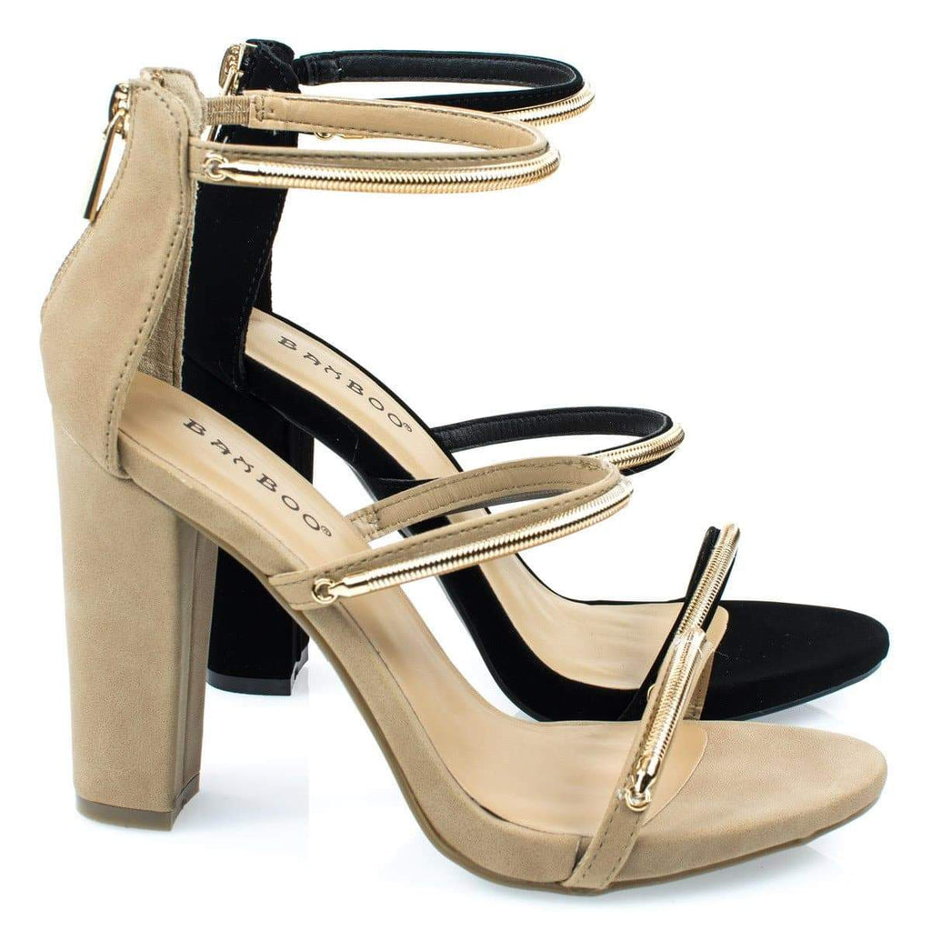 Limelight34M Natural By Bamboo, Triple Metal Chain Block Heel Sandal. Women's Evening Sandal