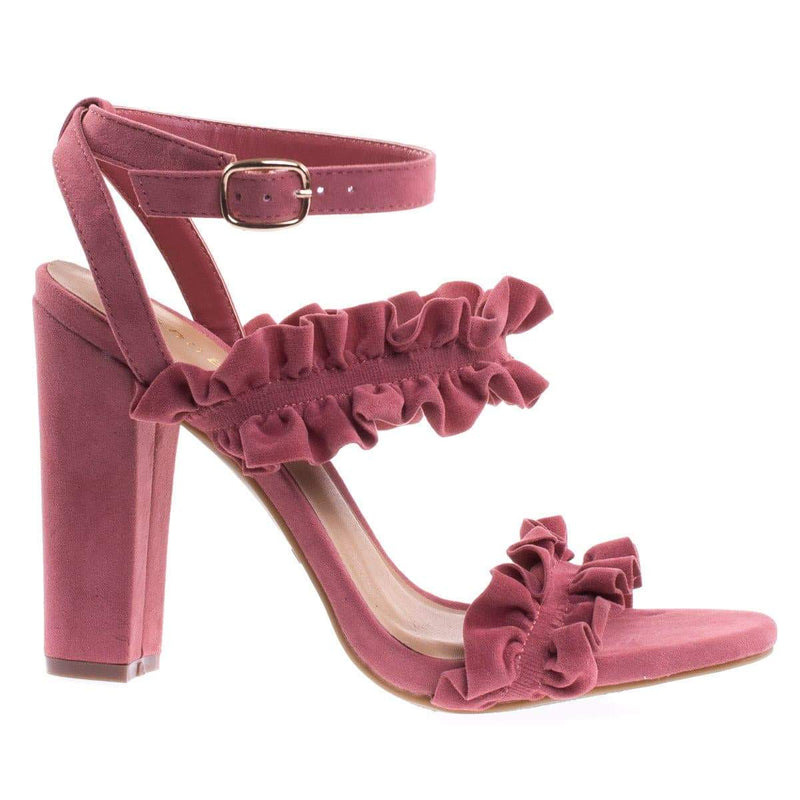 Limelight46S By Bamboo Ruffled Trimmed Sandal, Brazilian High Block Heel