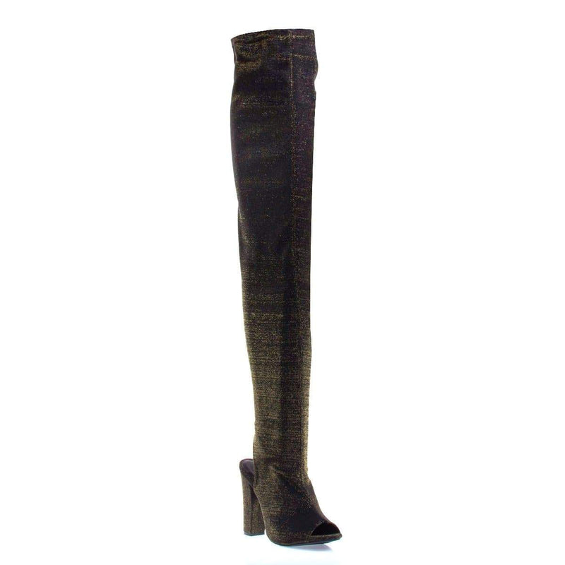 Limelight62S By Bamboo OTK Over Knee Peep Toe Open Back Thigh High Block Heel Boots
