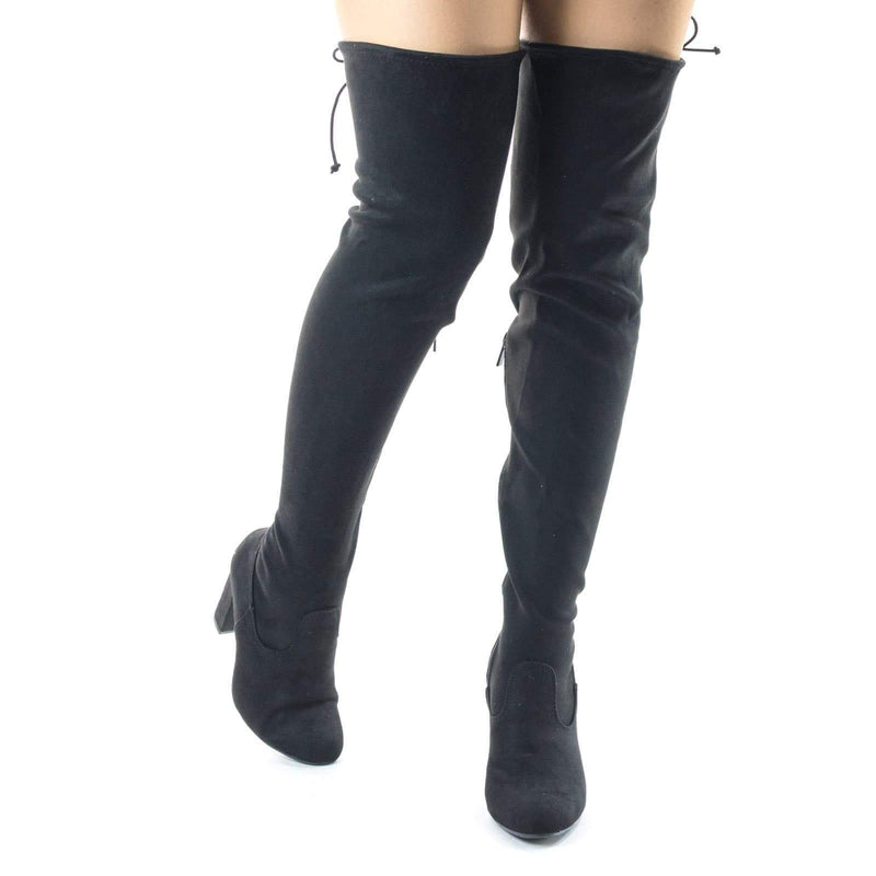 Living04 High Block Heel Thigh High Over Knee Dress Boots w Rear Lace Tie Up