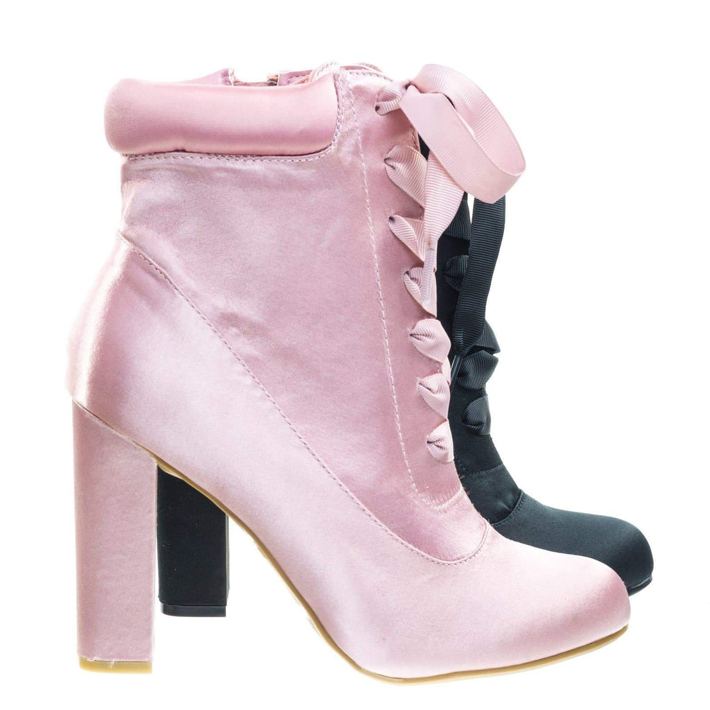 Living30 Satin Lita Block Heel Boots w Padded Collar & Ribbon Lace Up